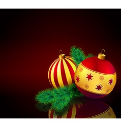 Christmas baubles with fir branch vector image