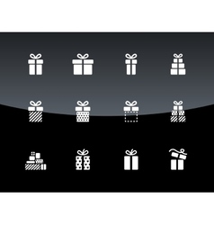 Christmas gift box icons on black background vector image vector image