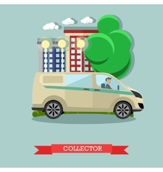 Collector and bank car vector