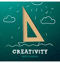Creativity learning Sailing ship with wooden vector image vector image