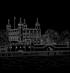 drawing tower of london vector image vector image