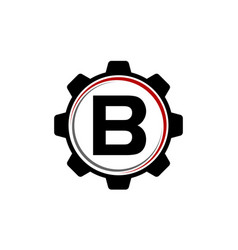Gear solution logo letter b vector