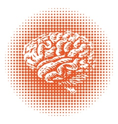 Halftone brain vector image vector image