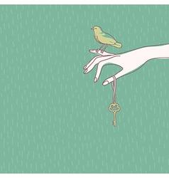 Hand bird vector