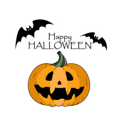 Happy halloween concept bats pumkin with scary vector
