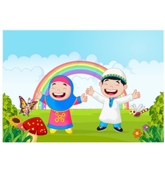 Happy muslim kid waving hand with rainbow vector image vector image
