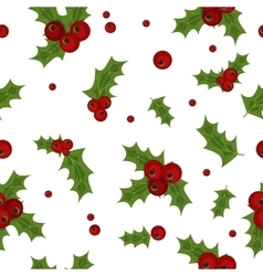 Holly berry natural winter seamless pattern vector image