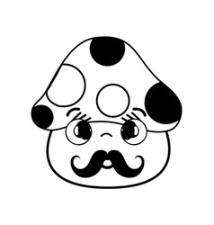 Kawaii cute shy fungus with mustache vector