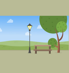 Landscape of garden with chair and lamp vector