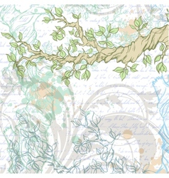 Light vintage garden background with tree branch vector