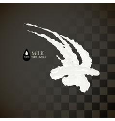 Milk 3d splash isolated on black background vector
