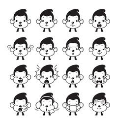Monkey Emoticons set Monochrome vector image vector image