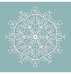 Paper lace doily decorative snowflake round vector