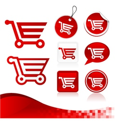 Red Shopping Cart Design Kit vector image