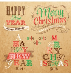 Set Merry Christmas Happy Kraft color vector image