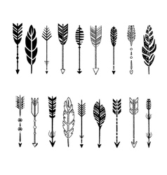 Set of arrows black and white in hand-drawn vector