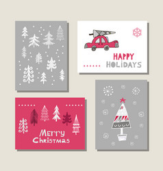 Set of christmas cards vector