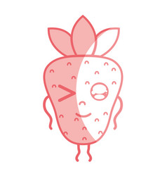 Silhouette kawaii cute funny strawberry fruit vector
