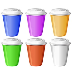Six colorful disposable cups vector