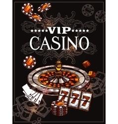 Sketch casino poster vector