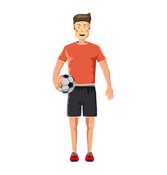 Soccer player standing with soccer ball icon vector