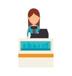 Supermarket cashier avatar icon vector