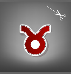 Taurus sign red icon with vector