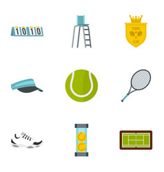 tennis icons set flat style vector image