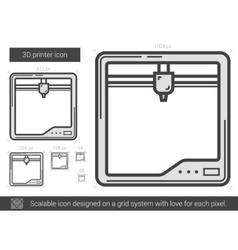 Three d printer line icon vector