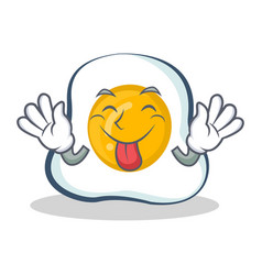 Tongue out fried egg character cartoon vector