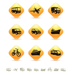 Transportation icons on yellow rhombic buttons vector image vector image