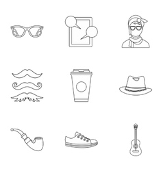 Trendy hipsters icons set outline style vector image vector image