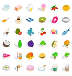 Vegan icons set isometric style vector