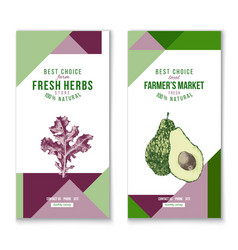 vertical banners - fresh herbs and farmers market vector image