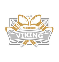 Viking warrior vintage isolated label with poleaxe vector