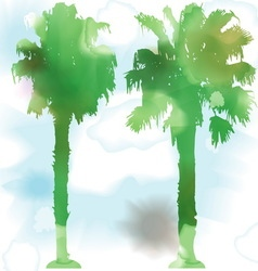 Watercolor palm trees vector