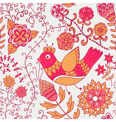 Winter time seamless texture with flowers birds vector