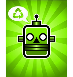 Green Recycling Retro Robot vector image