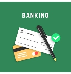 Banking with charge card and bank check vector