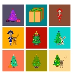 Assembly flat christmas tree deer vector