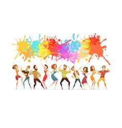 Dancing people banner colored cartoon banner vector