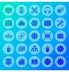 Programming solid circle icons vector