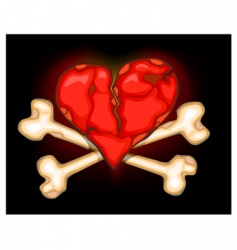 heart amp bones on black vector image