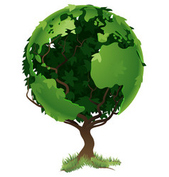 globe world tree concept vector image
