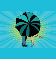 Man and woman kissing behind umbrella vector