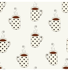 Seamless pattern with sketching dotted cups vector