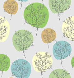 Trees seamless pattern trees with colored foliage vector