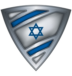 Steel shield with flag israel vector