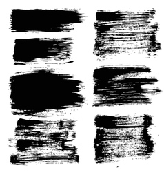 Black grunge strokes backgrounds set vector