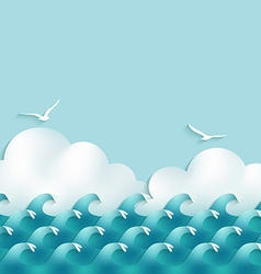 Sea background with waves clouds and seagulls vector